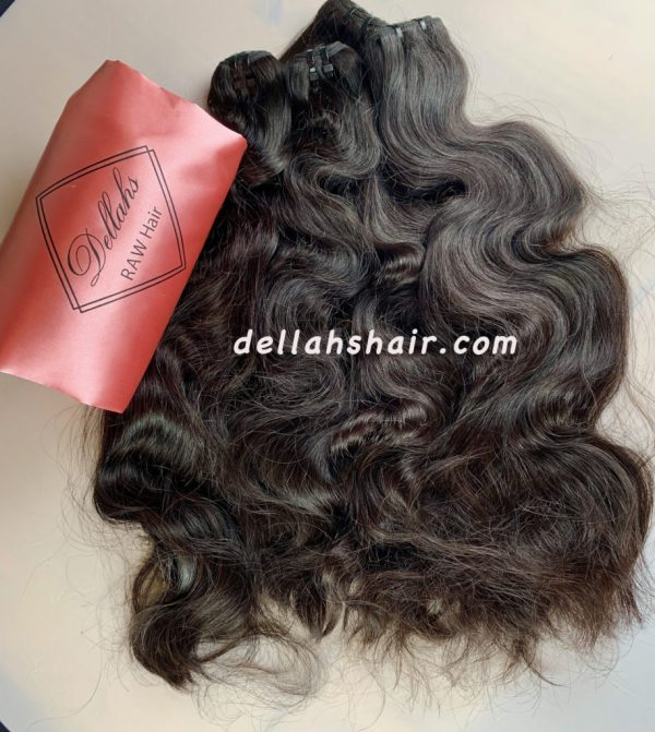 Dellahs Hair Raw Cambodian Wavy Hair Double Drawn Weft Extensions